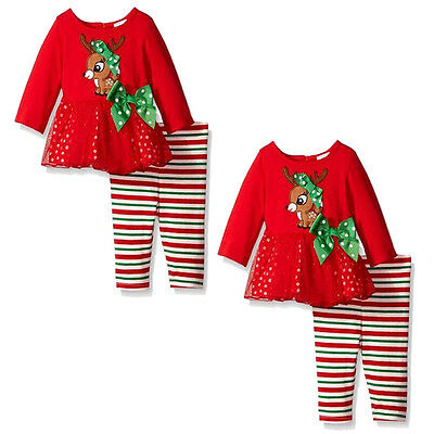 AU STock Baby Girl Kids Clothes Infant Tops Long Pants Outfit Set Christmas Gift