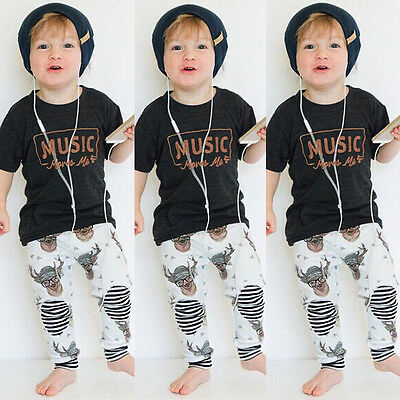 AU Stock Toddler Kids Baby Boy Girl Outfits Deer Tops T shirt Pants Clothes Set