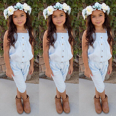AU Stock Toddler Girls Kids Denim Top T-shirt Long Pants Outfit Clothes Jumpsuit