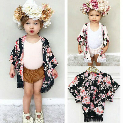 AU Stock Girls Kids Children Chiffon Floral Tassel Cover Cardigan Kimono Outfits