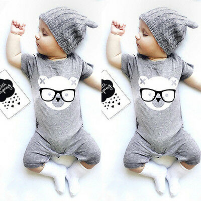Newborn Baby Boys Girls Bear Romper Bodysuit Jumpsuit Outfits Clothes