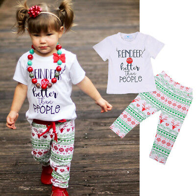 AU Stock Kids Baby Girl Christmas Outfit Tee Shirt T-shirt Tops + Pants Clothes
