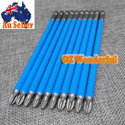 10PC 150MM(6'') IMPACT SCREW DRIVER BIT BITS MAGNETIC CRV S2 PH2 60084 Blue