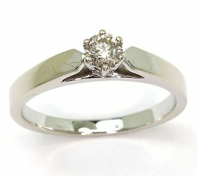 9ct White Gold 0.27cts Diamond Solitaire Ring - Size P 1/2