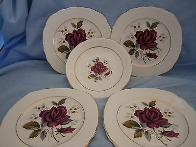 DORCHESTER FINE BONE CHINA 4 SIDE PLATES & SAUCER--FEATURING RED ROSE --Eng.