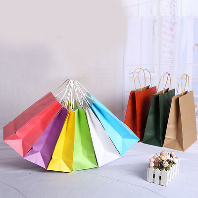 Lots Party Plain Kraft Paper Gift Bag With Handle Recyclable Shop Carry Case