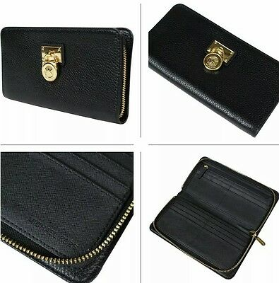 ad191968bfd4b0 New Michael Kors Hamilton NWT $148 Traveler Large Zip Around Leather Wallet