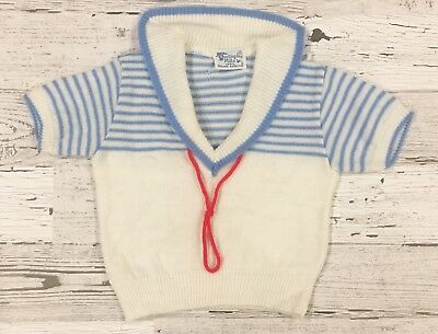 Adorable Vintage Huntingdon Mills Inc. White Sailor Sweater w/ Blue Stripes