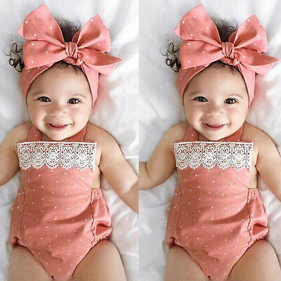 AU Stock Newborn Baby Girl Bodysuit Romper+Headband Outfits Sunsuit Clothes