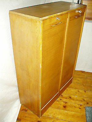 Vintage Retro Light Oak Double Tambour Roll - front Cabinet , Key Locking