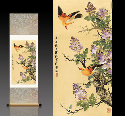 Chinese Silk Scroll Painting Wisteria Oriole Home Office Decoration(紫藤黄鹂)