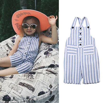 AU Stock Toddler Baby Kids Girls Cotton Jumpsuit Romper Bodysuit Clothes 1-6T