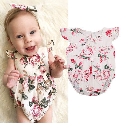 AU Stock Newborn Baby Girl Summer Bodysuit Romper Jumpsuit Bodysuit Outfits New