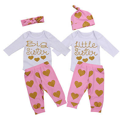 AU Stock Newborn Baby Little Sister Romper Big Sis T-shirt Pants Clothes Outfits