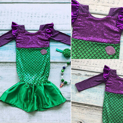 AU Stock Kid Baby Girl Sequins Mermaid Tail Princess Costume Cosplay Party Dress