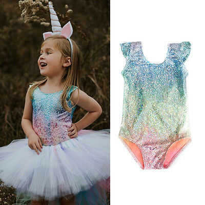 AU Stock Toddler Girl Baby Kids Outfit Glitter Bodysuit Romper  Sunsuit Clothes