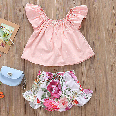 AU Stock Toddler Kids Baby Girls Clothes T-shirt Tops+Shorts Pants Outfit 0-24M