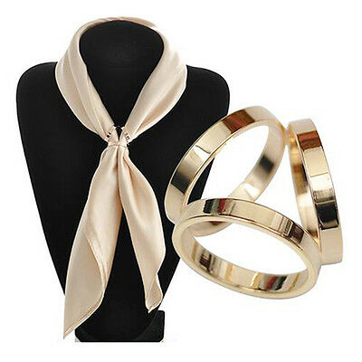 Women's Rose Gold Plated Trio Scarf Ring Silk Scarf Buckle Clip Slide Jewellery