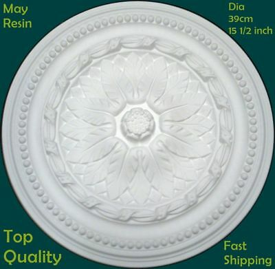 Lightweight Resin Ceiling Rose Strong Not Polystyrene Easy Fix Design 39cm
