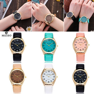 Mens Women Quartz Analog Watches Casual Gold Stainless Steel Leather Wrist Watch