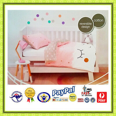 AUS QLTY-REVERSIBLE Design Baby Girls Cot Bed Doona/Quilt Cover Set-Babies