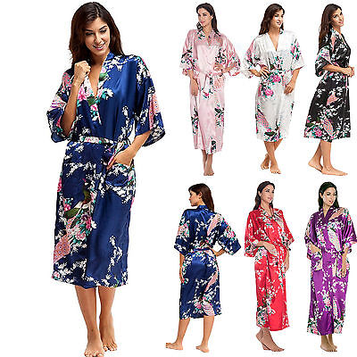 Women's Satin Kimono Robe Dressing Gown Wedding Bridesmaid Bathrobe Sleepwear