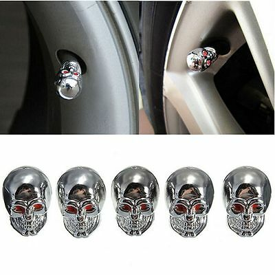 5Pcs Car Auto Skull Wheel Tyre Tire Stem Air Valve Caps Dust Covers Universal