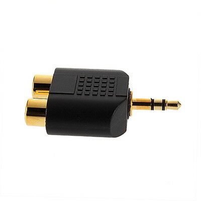 Gold-plated 3.5mm Stereo Plug to 2RCA(Red+White) Female Connector Adapter JK