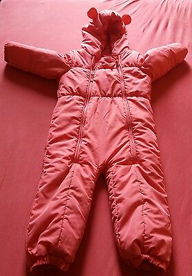 Next girl coral pink snowsuit 18-24 months