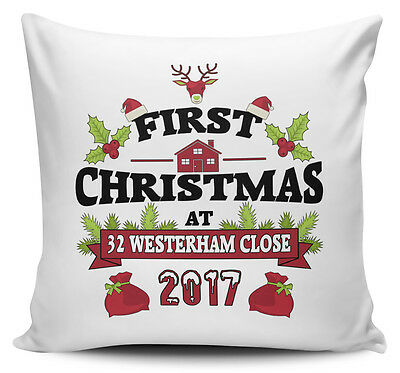 Personalised 2017 First Christmas At New Address Novelty Cushion Cover w/ Inner