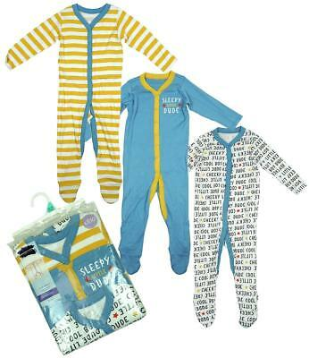 Boys Sleepsuit 3 Pack Sleepy Dude Babygro Rompers Newborn Baby to 24 Months
