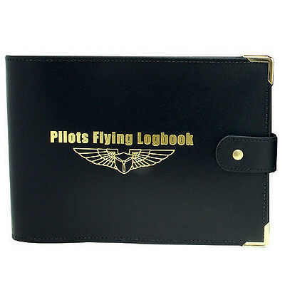 Private Pilots Log Book Cover - Black Leather - Suitable For Ga Logbooks
