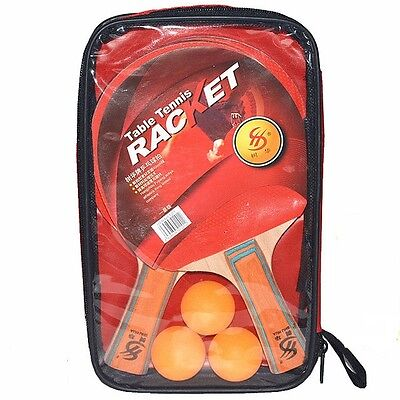 Table Tennis Ping Pong Set - 2 Paddles, 3 Balls, 1 Bag; Double-sided Rubber