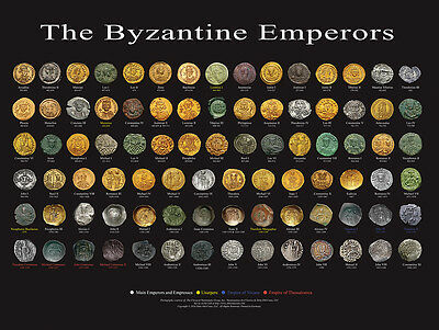 BYZANTINE EMPERORS POSTER 24x18