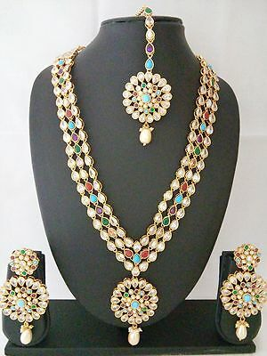 Indian bollywood Jewelry Antique Long Necklace Ethnic Gold Pated Traditional Set