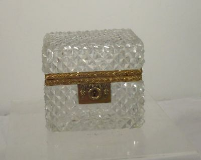 Antique Bronze Mounted Crystal Glass Box European