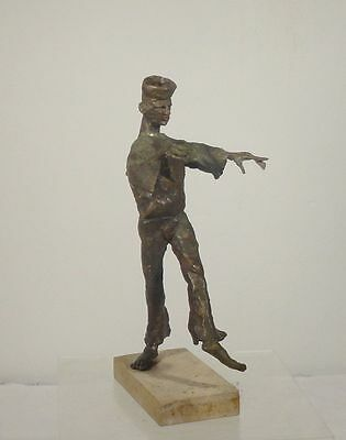 Antique Vintage Lost Wax Cast Bronze Statue Figure Russian Dancer Signed