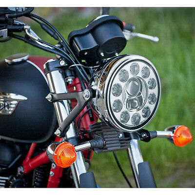 "7"" LED motorcycle headlight chrome high low beam 1PCE for Harley BMW"