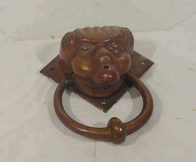 Antique Vintage Bronze Door Knocker Figural Face Gilt Ghoul