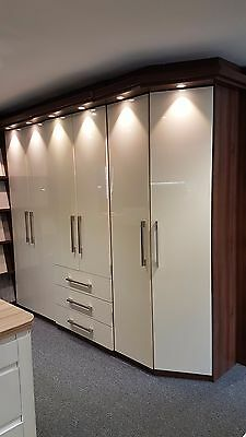 Ex Display, Fitted Wardrobes - Gloss Cream & Dark Walnut Contrast Sizes Attached