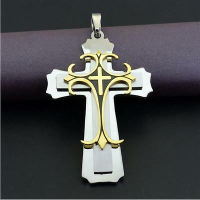 Extra large Stainless Steel Gold Silver Cross Pendant Jewelry Men Women Pendant
