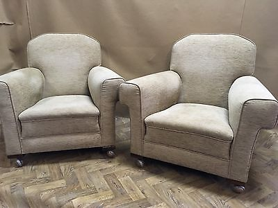 A Pair Of Vintage Arm Chairs 1930s 1940s 1950s On Castors
