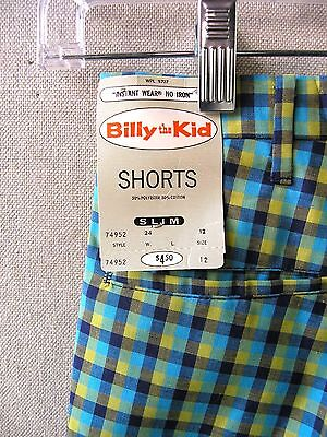 "NWT 1960s Boys Madras Shorts Billy the Kid Plaid sz 12 24"" Waist Bobby Draper"