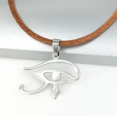 Silver Stainless Egypt Eye Of Horus Egyptian Pendant Brown Leather Necklace