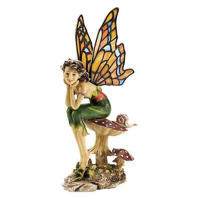 Pondering Pixie Fairy Statue Stained Glass Monarch Butterfly Wings Sculpture