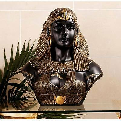 Queen Cleopatra Neoclassical Bust Ancient Egypt Basalt and Gold