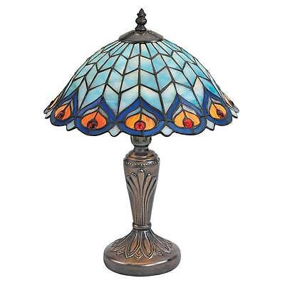 Tiffany Style Peacock Feathers Stained Glass Table Lamp Vintage New