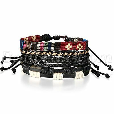4pcs Fashion Handmade Retro Multilayer Leather Bracelet Cuff Wrap Set Adjustable