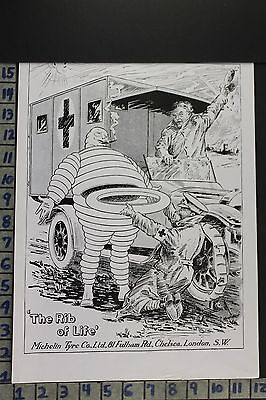 1915 Auto Michelin Tire Military Ambulance Army Doctor Comic Vintage Ad Ed005