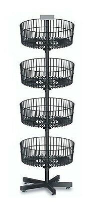 Wire Basket Bin Spinner Black 4 Tier Retail Store Floor Standing Display NEW